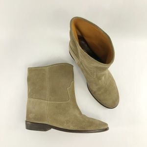 ScoopNYC Crisi Beige Suede Hidden Wedge Booties 39